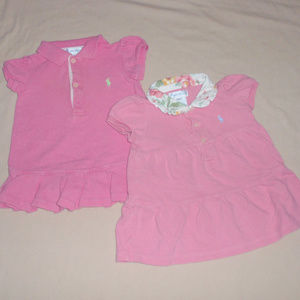 2 Ralph Lauren Girls pink Dresses 6m Polo Pique